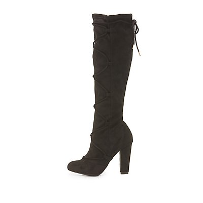 Lace-Up Front Knee-High Boots