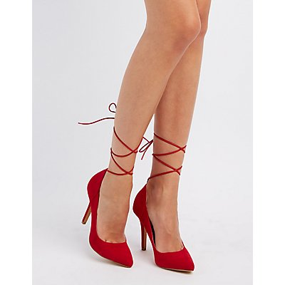 Lace-Up Ankle Pointed Toe Pumps