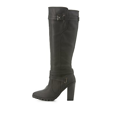 Qupid Pointed Toe Knee-High Boots