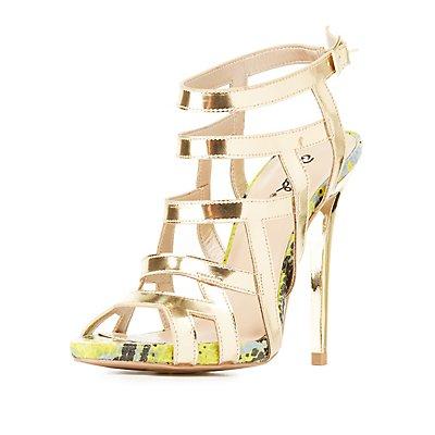 Qupid Caged Slingback Dress Sandals