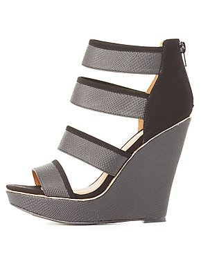 Qupid Embossed Strappy Wedge Sandals