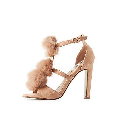 Faux Fur T-Strap Dress Sandals