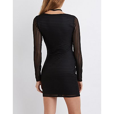 Shadow Stripe T-Strap Bodycon Dress
