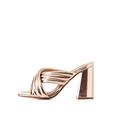 Metallic Quilted Slide Sandals