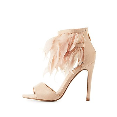 Feather Two-Piece Dress Sandals
