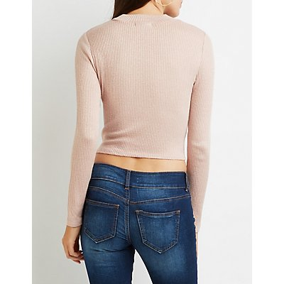 Ribbed Mock Neck Knotted Crop Top