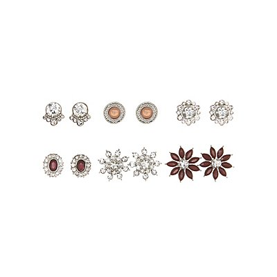 Embellished Statement Earrings - 6 Pack