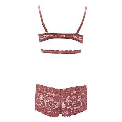 Lace Bralette & Boyshort Panties Set
