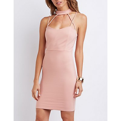 Strappy Caged Mock Neck Bodycon Dress