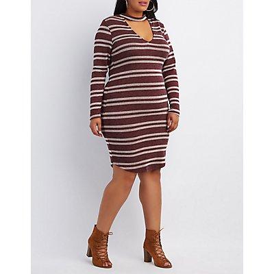Plus Size Striped Choker Neck Dress