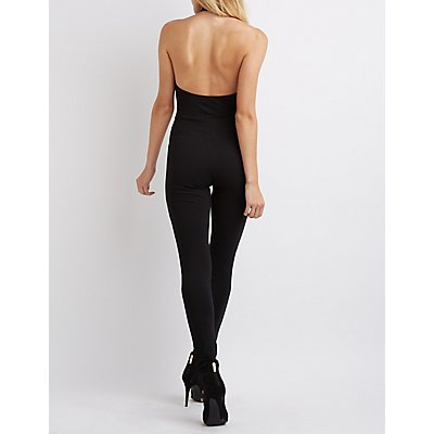 Mock Neck Faux Leather-Trim Jumpsuit