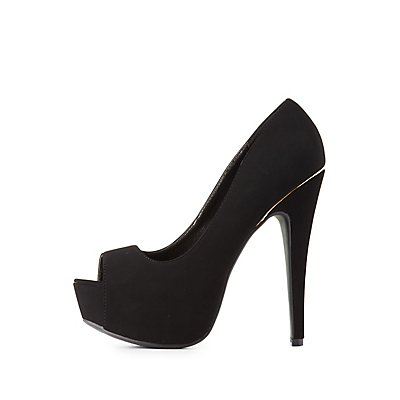 Platform Peep Toe Pumps