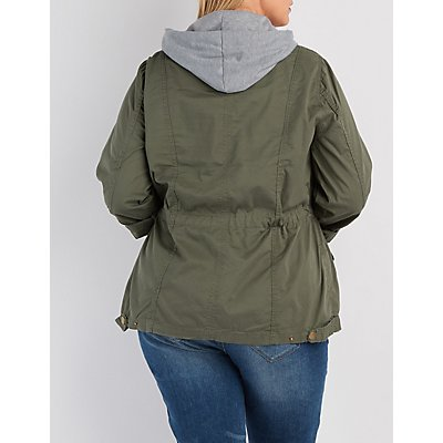 Plus Size Removable Hood Anorak Jacket