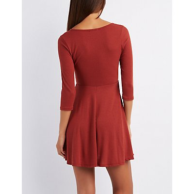 Ribbed Lattice-Front Skater Dress