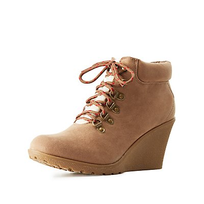 Sherpa-Trim Lace-Up Wedge Booties
