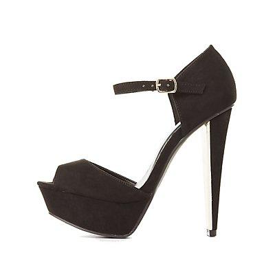 Qupid Peep Toe Platform Heels