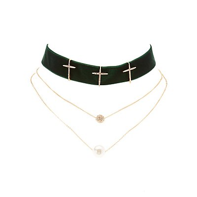 Velvet Cross Necklace & Layering Necklace - 2 Pack