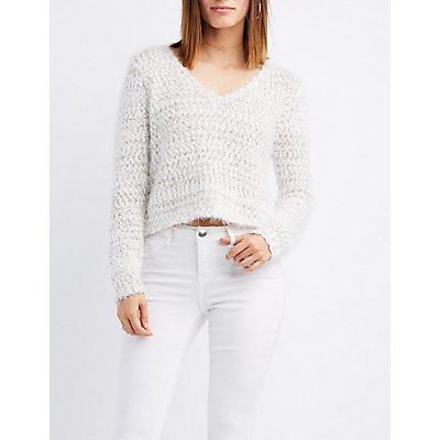 Feather Knit Cropped Sweater