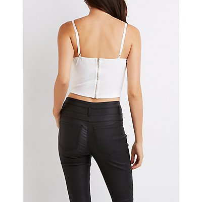 Faux Leather-Trim Bustier Crop Top