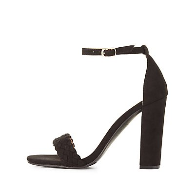 Braided Two-Piece Chunky Heel Sandals