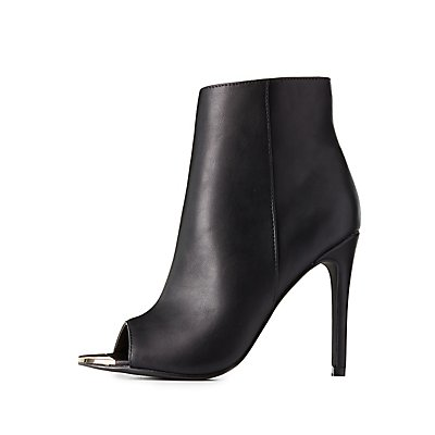 Gold-Tipped Peep Toe Booties