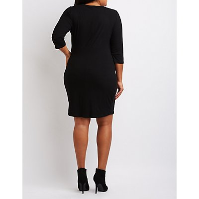 Plus Size Ribbed Lace-Up Dress