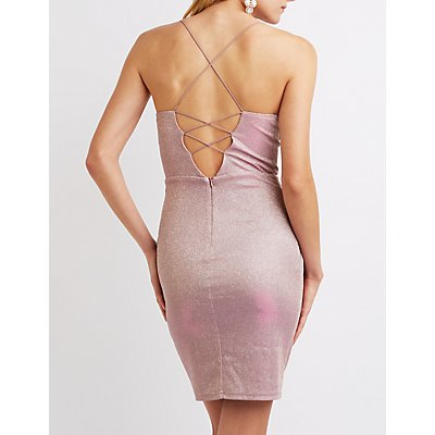 Shimmer Lattice-Back Bodycon Dress