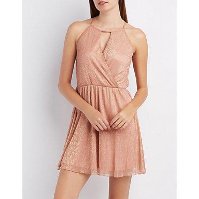 Shimmer Surplice Skater Dress