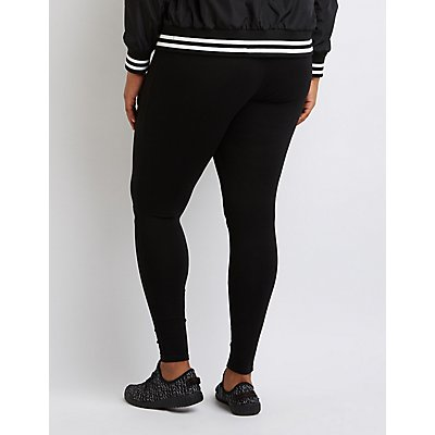 Plus Size Slit Cotton Leggings