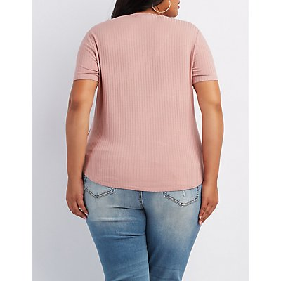 Plus Size Ribbed Lattice-Front Tee