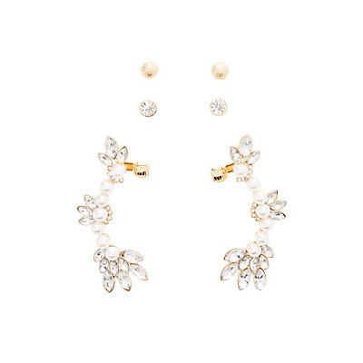 Ear Crawlers & Stud Earrings Set