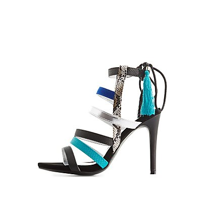 Qupid Colorblock Strappy Dress Sandals