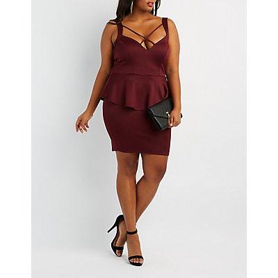 Plus Size Strappy Caged Peplum Dress