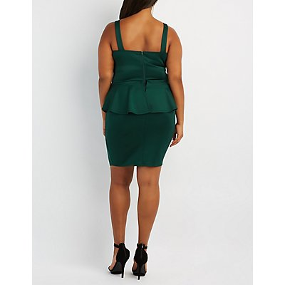 Plus Size Strappy Caged Peplum Dress