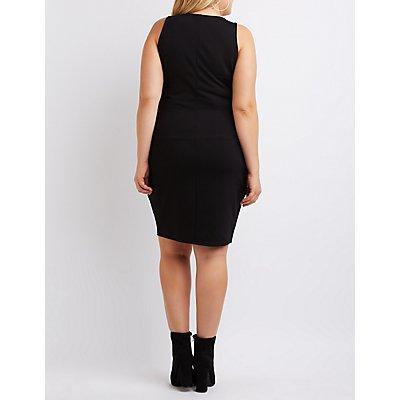 Plus Size Mesh-Trim Notched Bodycon Dress