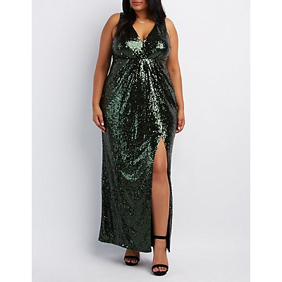 Plus Size Sequin V-Neck Maxi Dress
