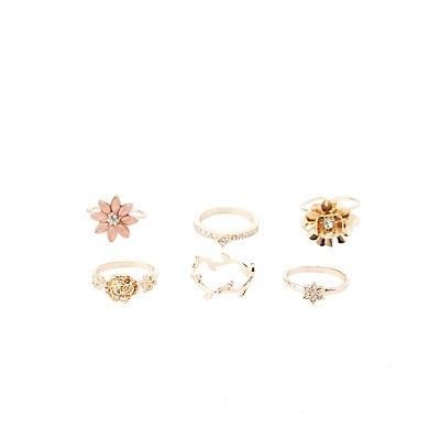 Floral Metal Rings - 6 Pack