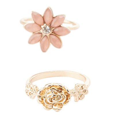 Floral Metal Rings - 6 Pack