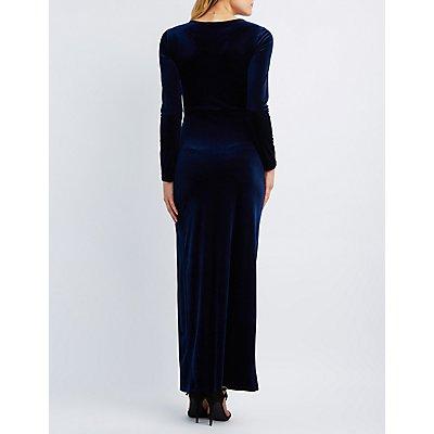 Velvet Surplice Maxi Dress