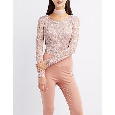 Lace Lattice-Back Bodysuit
