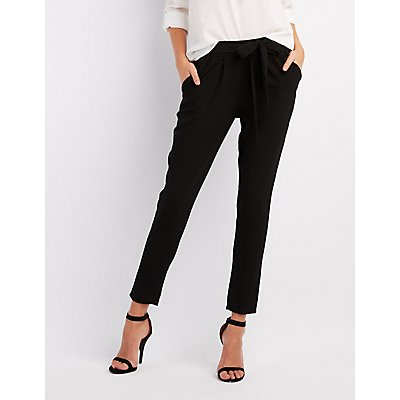 Tie-Waist Pleated Trousers