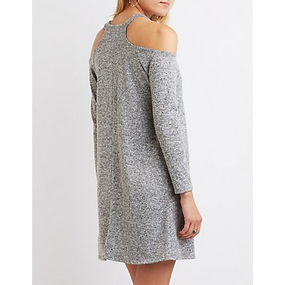 Marled Cold Shoulder Shift Dress