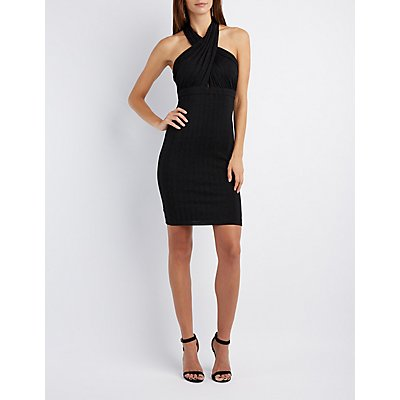 Shimmer Crossover Bodycon Dress