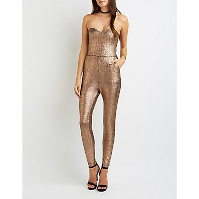 Shimmer Strapless Sweetheart Jumpsuit