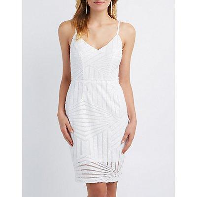 Geometric Sequin Bodycon Dress