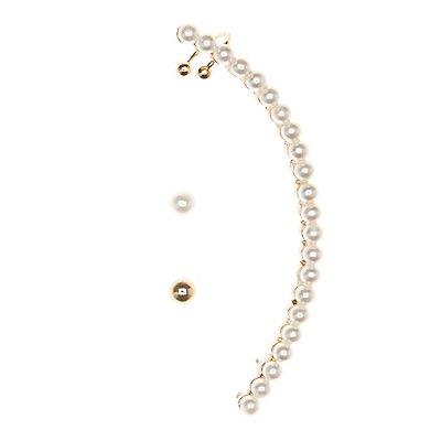 Pearl Bead Ear Crawlers & Stud Earrings Set
