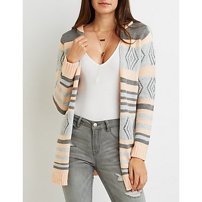 Tribal Striped Hooded Cardigan