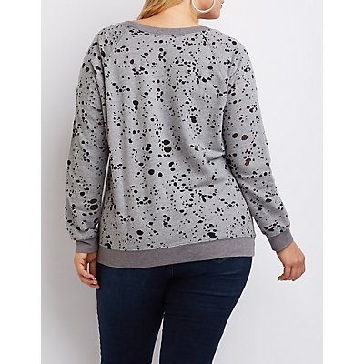 Plus Size Burnout French Terry Sweatshirt