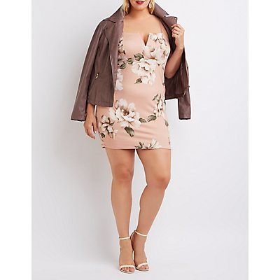 Plus Size Floral Notched Bodycon Dress