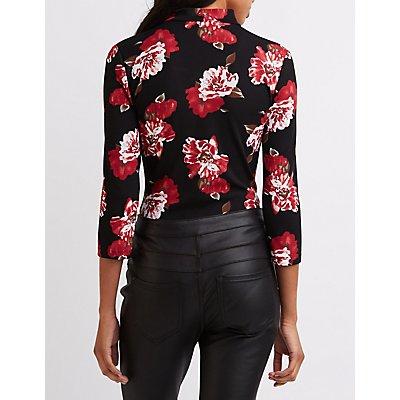 Floral Lattice Mock Neck Bodysuit